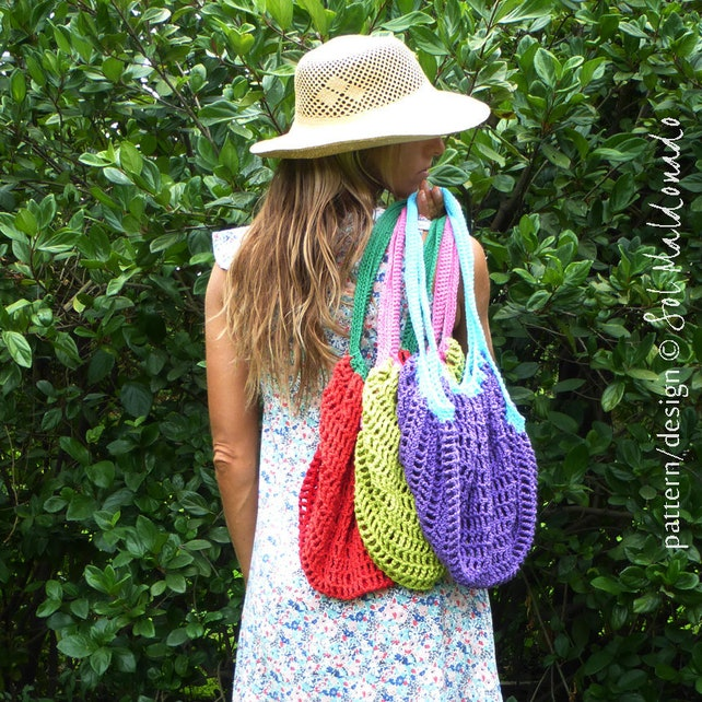 Crochet Pattern Bag Mesh Grocery With Lining Daily Bag Etsy