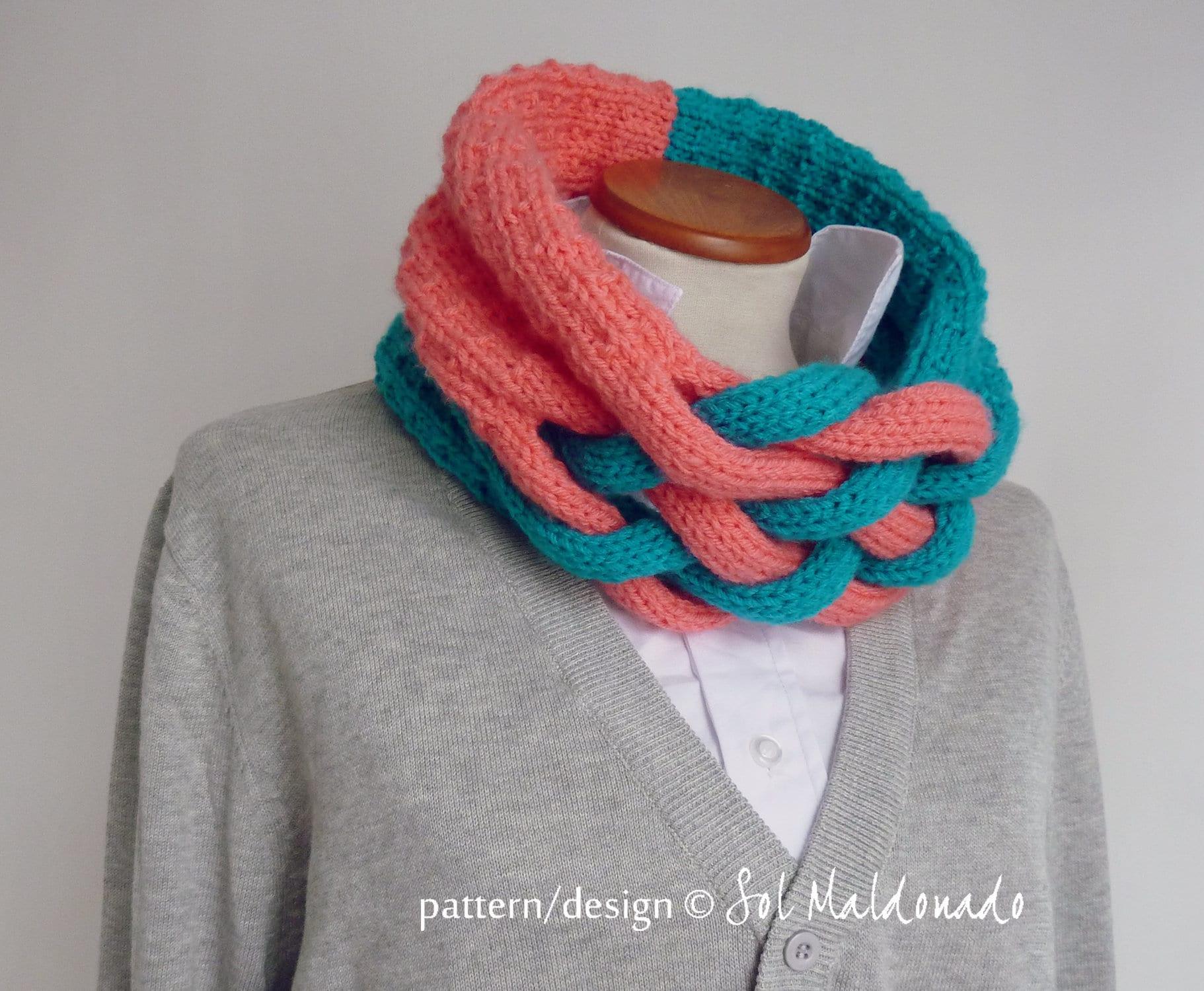 Knit Pattern Cowl Knitting Pattern Weave Scarf Cowl Etsy