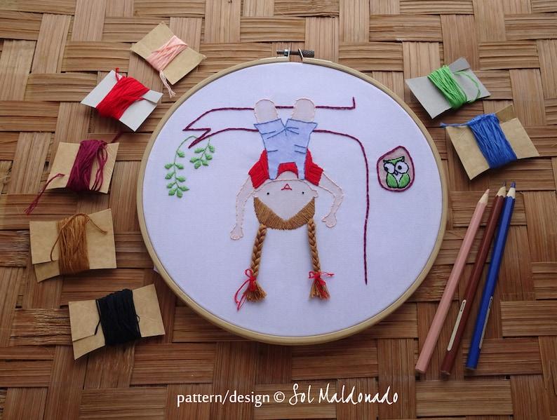 Hand Embroidery Pattern Children decor Hanging Modern Embroidery Hoop Art Hair embroidery Hang Tree Girl Photo tutorial print pattern