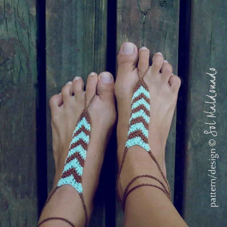 Barefoot Sandals Crochet Pattern Tribe Geometric Trend Etsy