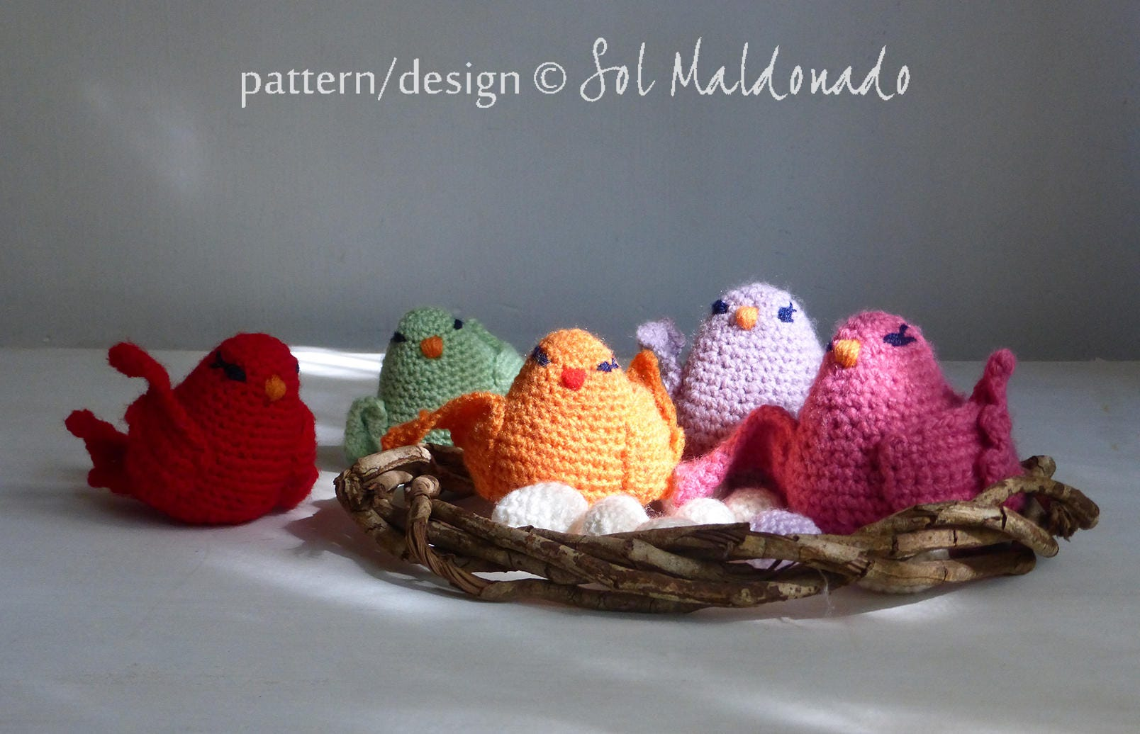 Crochet pattern amigurumi birds, nest and eggs - toy, baby mobile ...