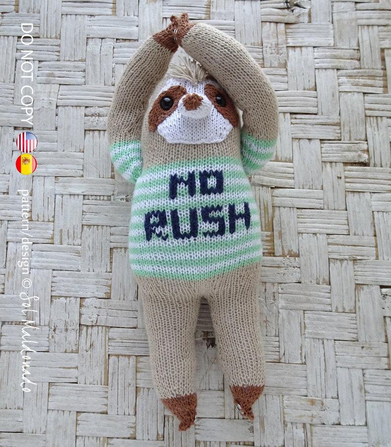 Knit Pattern Sloth Amigurumi Toy Knitting Pattern Sloth INSTANT DOWNLOAD Knitting Amigurumi Doll Bear Toy EnglishSpanish