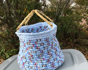 Multi-colored Clothesline Crocheted Basket