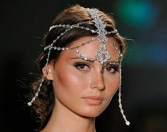 Bridal Head Chain Weddings Bridal Headpiece Headpiece Wedding Headpiece Hair Jewelry Head Chain Head Jewelry Chain Head Piece - Taila