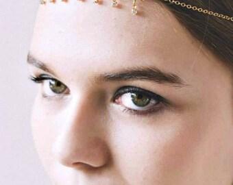 Hair Jewelry Headpiece Head Jewelry Bridal Headpiece Wedding Headpiece Prom Accessories Formal Accessory Gold Chain Floral Headpiece Eleganc