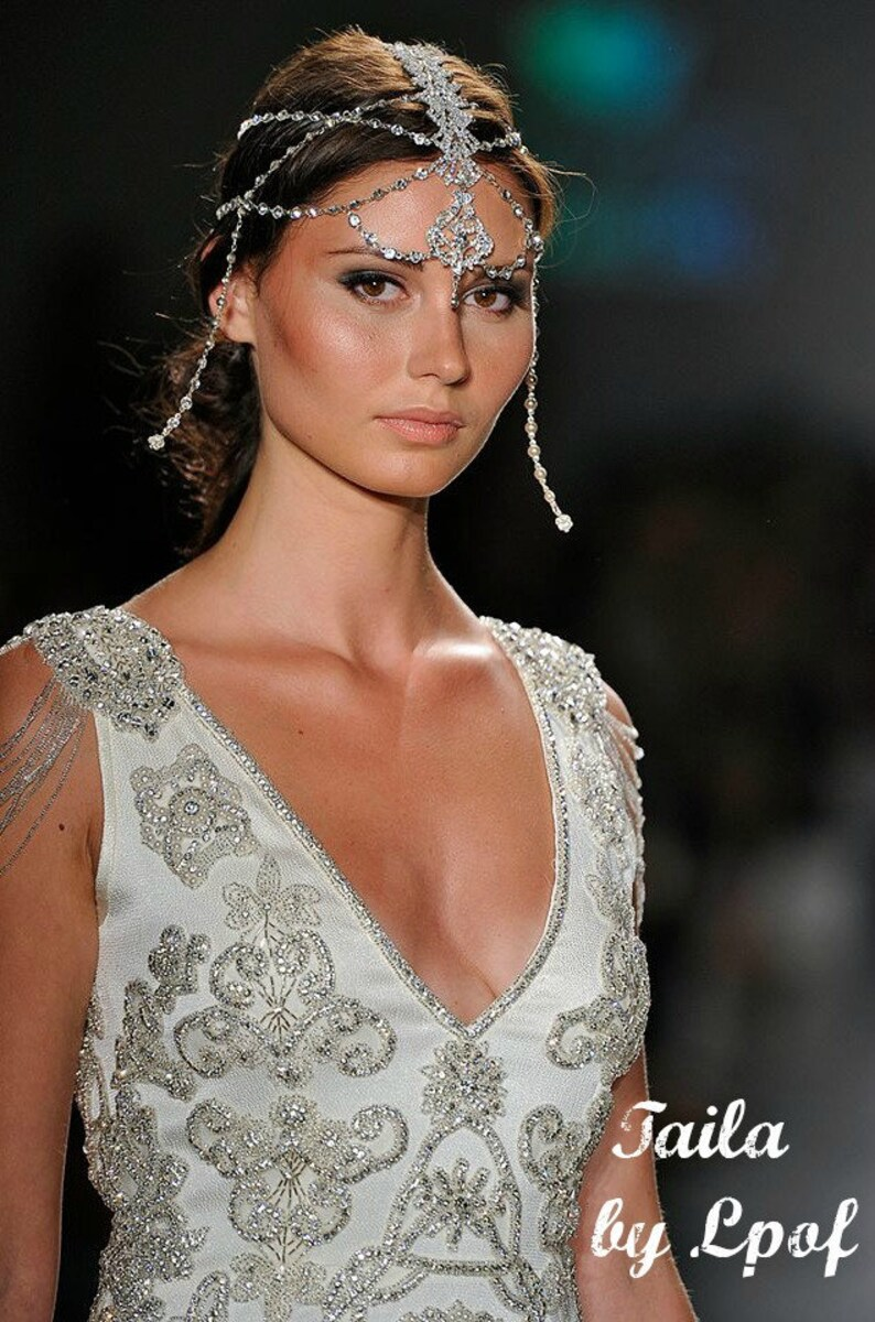 Bridal Head Chain Weddings Bridal Headpiece Headpiece Wedding image 0