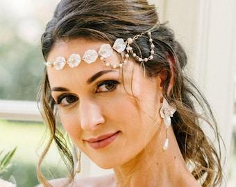 Pearl Bridal Headpiece Wedding Headpiece Head Chain Head Jewelry Chain Boho Headband Bridal Head Chain Pearl Hairpiece Boho Wedding Shellies