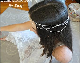 Bridal Headpiece Head Piece Head Jewelry Chain Headpiece Bridal Accessory Bridesmaid Accessory Hair Accessory Boho Headpiece Pearl Luster Vi