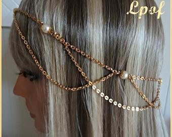 Rose Gold Bridal Headpiece Head Piece Hair Jewelry Chain Headpiece Bridal Accessory Bridesmaid Accessory Hair Chain Boho Pearl Luster Vi