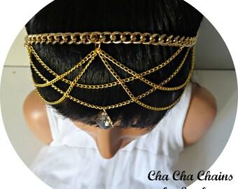 Chain Headpiece Hair Jewelry Head Chain Headpiece Head Jewelery Headchain Hair Accessory Bridal Headpiece Boho Wedding - Cha Cha Chains Gold