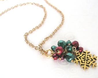 Antique Gold Snowflake Necklace, Red Green and Gold Holiday Necklace, Christmas Jewelry, Pendant Necklace, Gift for Her, Holiday Fashion