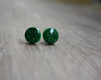 d36ebc615 Glitter earrings, 12mm studs, polymer clay and resin, emerald green