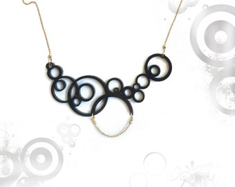 Black circles statement necklace, Geometric necklace, Black jewelry, black pendant, Acrylic abstract circles necklace, gifts for women