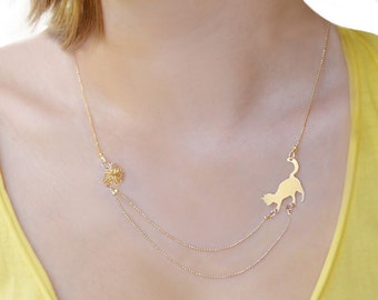 Tiny cat playing necklace, animal lover gift, Cat lover necklace, Animal lover necklace, gold filled dainty necklace, layering necklaces