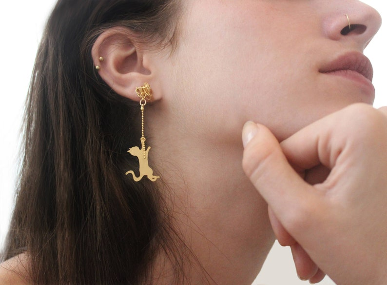 Cat stud earrings gold cat studs cat playing with yarn image 0