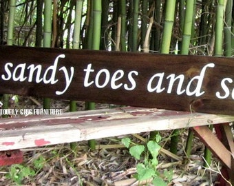 LARGE sandy toes and salty kisses sign~CUSTOM COLORS~Beach Sign Plaque~Wall Decor~Coastal Home-Bay Nautical