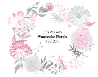Watercolor baby pink grey floral clip art high resolution etsy hand painted watercolor baby pink grey floral clip art high resolution graphic greeting scrapbooking mightylinksfo