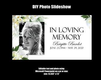 Virtual Memorial Slideshow DIY Celebration of Life Slideshow Funeral Slideshow Editable PDF Virtual Funeral