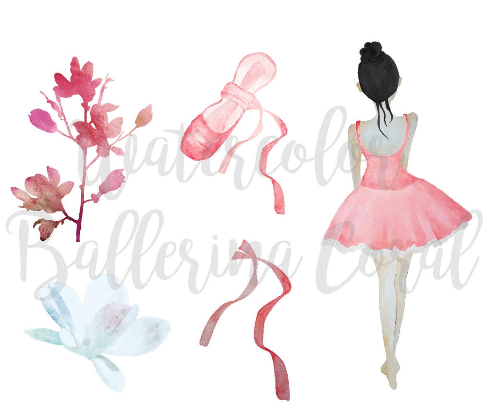 watercolor ballerina clip art, coral ballerina, tutu, ballet shoes, bow ballerina ribbons printable, stickers, collage, birthday