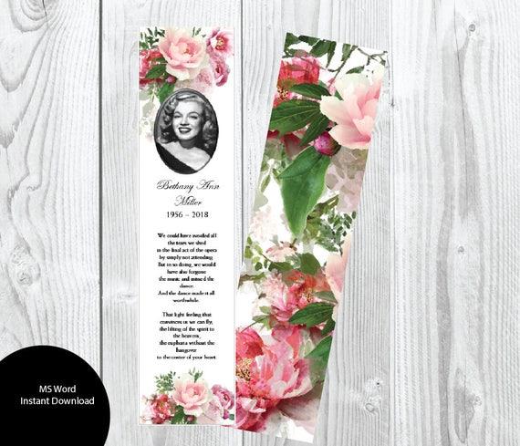 DIY Pink Peony Funeral Bookmark Template Diy Memorial