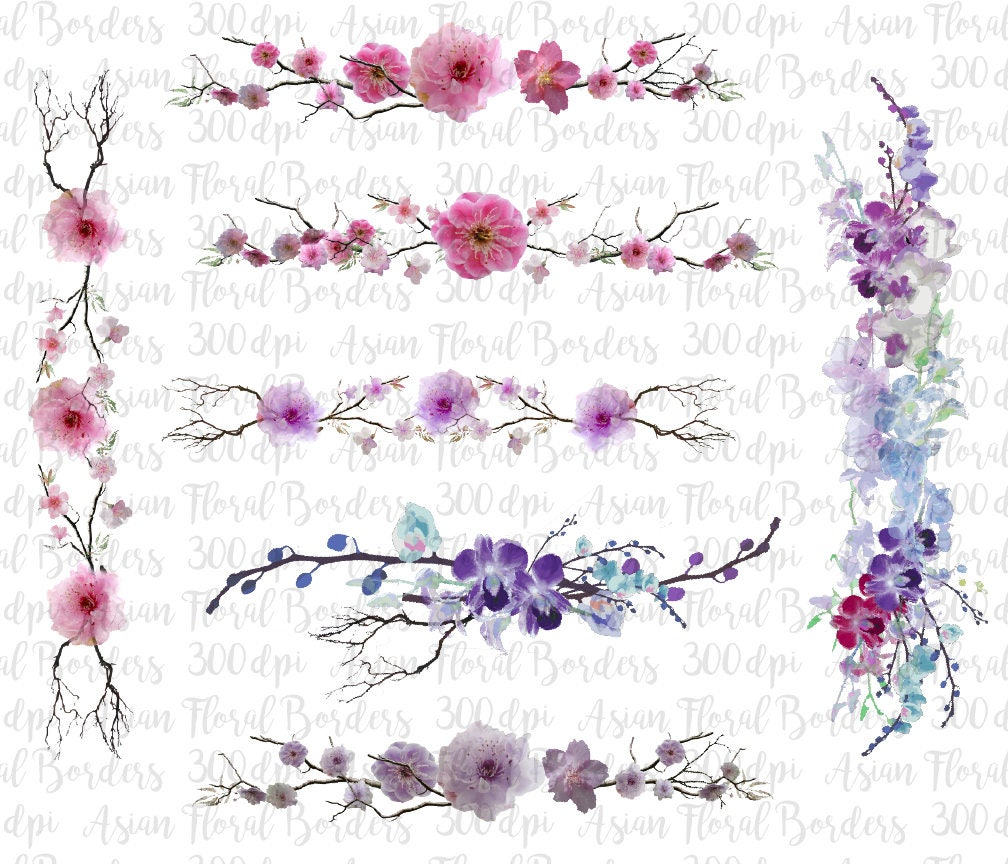 Asian Borders Orchid Borders Cherry Blossom Digital Borders