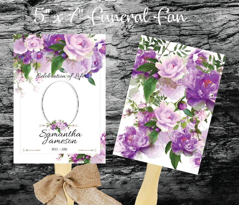 Printable Funeral Fan Template Purple Peony Funeral Fan image 0