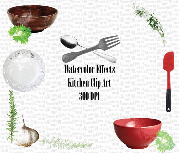 Watercolor Effects Kitchen Utensils Clipart High Res Graphic Scrapbooking Sticker Planner Cooking Clipart
