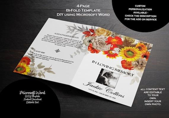 funeral program template fall flowers orange tan yellow etsy