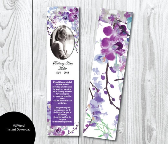 Violet Orchid Floral Flowers Funeral Bookmark Template