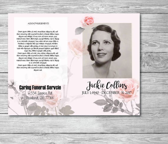 printable memorial program printable funeral program etsy