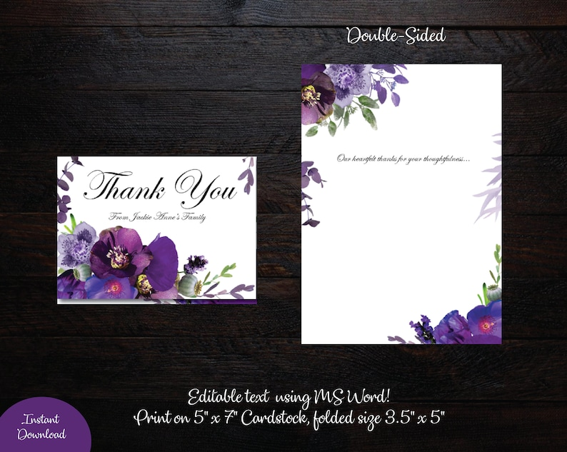 tent funeral thank you card folded size 35 x 5 memorial