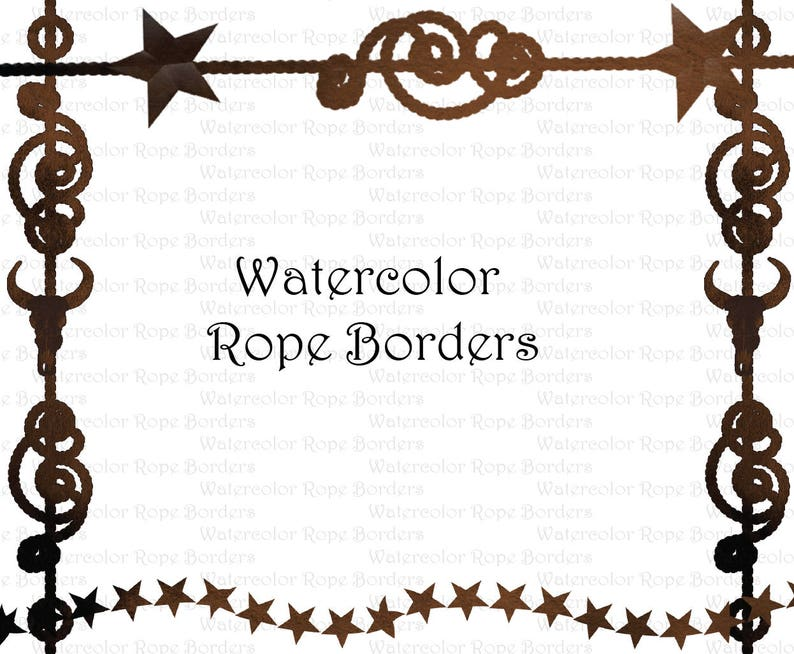 Watercolor Western Cowboy Rope Border Clipart Graphics High Etsy