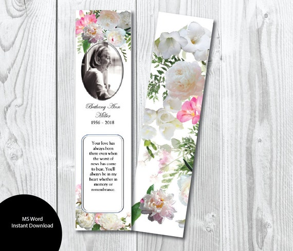 Diy Pink White Peony Freesia Funeral Bookmark Template Etsy