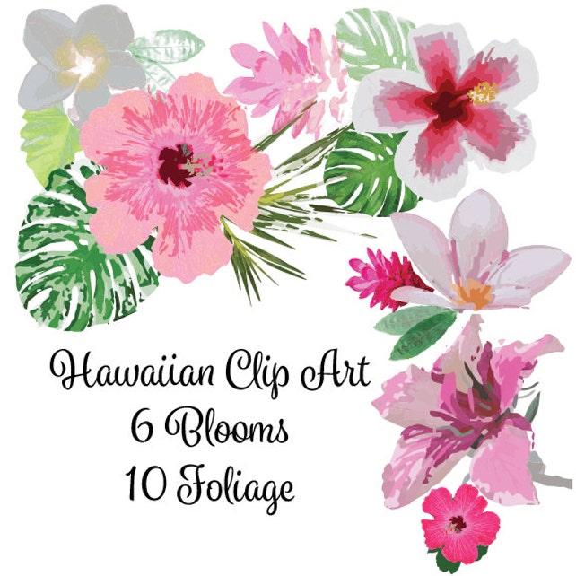 Watercolor Hawaiian Floral Clip Art High Resolution Graphic   Etsy
