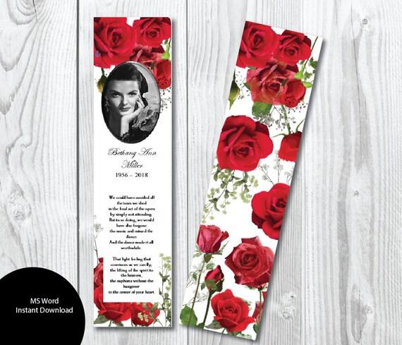 DIY Red Roses Funeral Bookmark Template Memorial