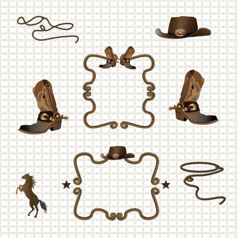 Western Cowboy Border Clipart Graphics High Resolution Graphic Etsy