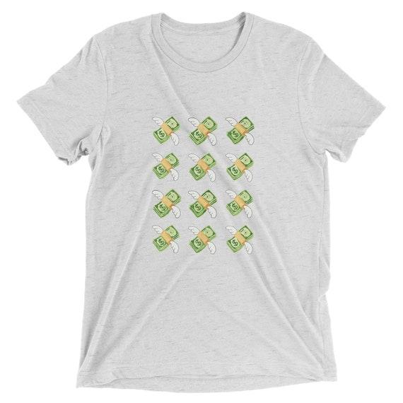 Emoji Flying Money Short Sleeve Graphic Tee White Fleck Etsy