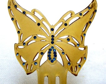 Art Nouveau hair comb figural butterfly celluloid hair ornament hair accessory hair pin hair pick hair fork
