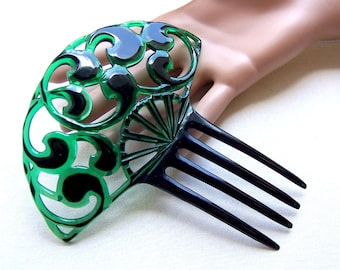 Art Deco hair comb green black parti color decorative Spanish style hair accessory