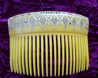 Art Deco hair comb blonde celluloid decorative comb hair ornament hair accessory headdress