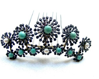 CLate Victorian tiara comb faux turquoise pearls accessory decorative headdress headpiece