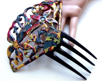 Art Deco celluloid end of day hair comb Spanish style hair accessory decorative comb haircomb headdress hair ornament