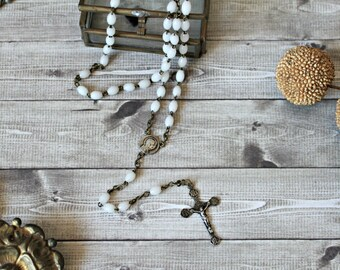 French antiques chapelet child silver & glass rosary 1900s chaplet cross religious catholic collection protection prayer