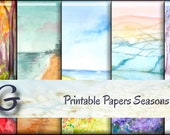 Seasons - Printable Digital Papers, 8.5x11 inch,Craft Projects,Decoupage,Scrapbooking Designs by Saguaro Graphics