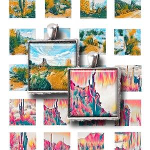 Jewelry Makers Arizona Desert Van Gogh Paintings Art Teardrop 28x40mm,Instant Download Digital Art,Collage Sheets Saguaro Graphics