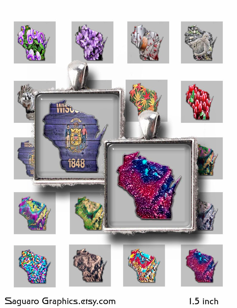 Squares 1.5 /& 1.0 inch,Instant Download Digital Art Wisconsin State Maps Art Collage Sheets,Magnets,Jewelry,Scrapbooking