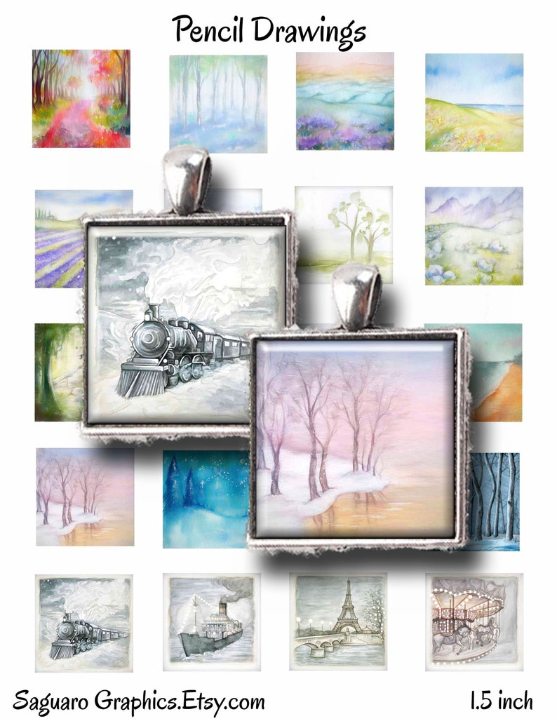 1.0 inch,Instant Download Digital Art,Collage Sheets,Magnet Art,Jewelry Makers Square 1.5 Pencil Scene Drawings Saguaro Graphics