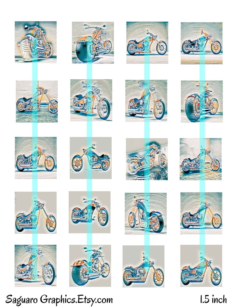 Squares 1.5 /& 1.0 inch,Instant Download,Collage Sheets for creating Magnets Art,Jewelry,Scrapbooking Big Dog Motorcycle Paper Frost Art