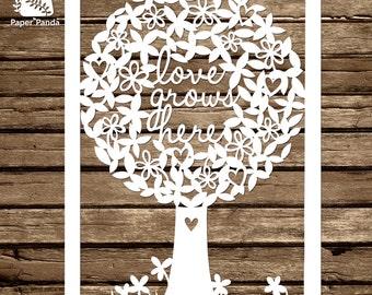 Paper panda by paperpandapapercuts on etsy paper panda papercut diy template love grows here maxwellsz