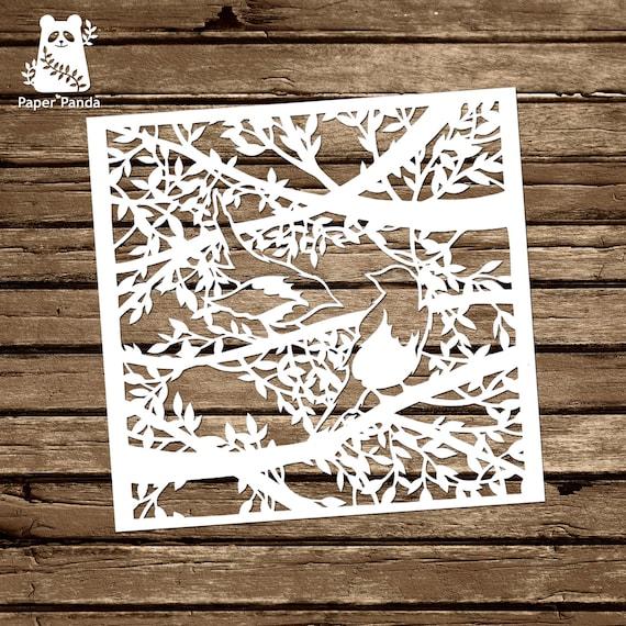 Paper panda papercut diy papercut template two for etsy image 0 maxwellsz